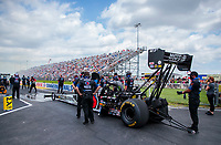Jul 18, 2020; Clermont, Indiana, USA; NHRA top fuel driver Antron Brown during qualifying for the Summernationals at Lucas Oil Raceway. Mandatory Credit: Mark J. Rebilas-USA TODAY Sports