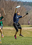 30 April 2016: The Vermont Commons School Flying Turtles Varsity Ultimate Team plays Burlington High School in the Champlainships Ultimate Disk Tournament at the Williston Regional Center in Williston, Vermont. Mandatory Credit: Ed Wolfstein Photo *** RAW (NEF) Image File Available ***