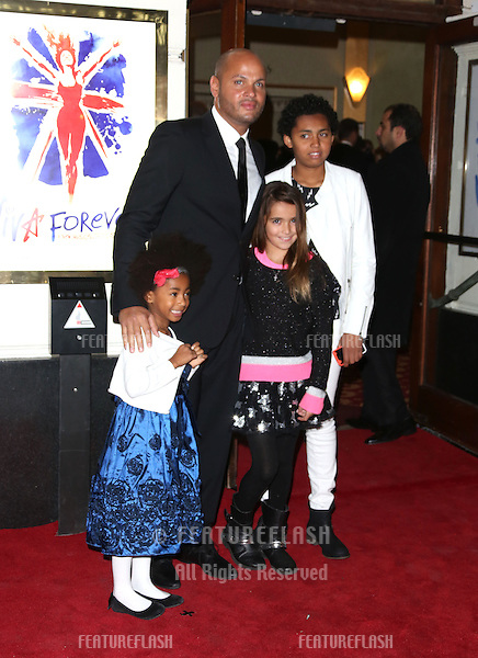 Stephen Belafonte, with Mel B's daughters Phoenix Chi Gulzar, Angel Iris Murphy Brown arriving for VIVA Forever Spice Girls the Musical held at the Piccadilly Theatre. 11/12/2012 Picture by: Henry Harris / Featureflash