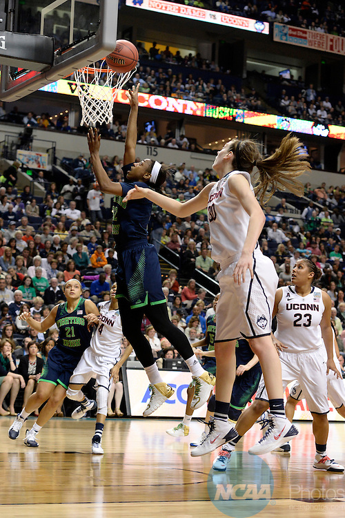08 APR 2014:  Jewell Loyd(32) of Notre Dame University makes a lay up against the University of Connecticut during the Division I Women's Basketball Championship held at Bridgestone Arena in Nashville, TN.  Connecticut defeated Notre Dame 78-63 for the national title.  Jamie Schwaberow/NCAA Photos