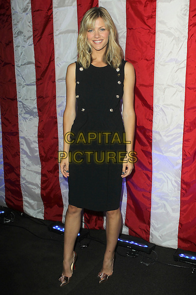 Brooklyn Decker.Hollywood entertainment studios, television networks, talent agencies and guilds launch Got Your 6, a collective action initiative dedicated to creating opportunities for veterans in six categories: JOBS, EDUCATION, HOUSING, HEALTH, FAMILY and LEADERSHIP held at SAG-AFTRA, os Angeles, California, USA..May 10th, 2012.full length black sleeveless dress gold buttons    .CAP/ADM/KB.©Kevan Brooks/AdMedia/Capital Pictures.