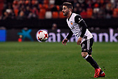 9th January 2018, Mestalla Stadium, Valencia, Spain; Copa del Rey football, round of 16, second leg, Valencia versus Las Palmas; NACHO GIL, winger for Valencia CF controls the ball during the game