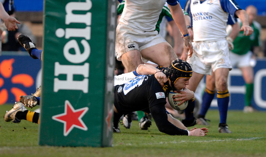 Photo: Richard Lane..London Wasps v Leinster. Heineken Cup Quarter Final. 31/03/2007. .Wasps' James Haskell dives in for a try.