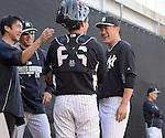 (R-L) Masahiro Tanaka, J.R. Murphy, Joe Girardi (Yankees),  Shingo Horie,<br /> FEBRUARY 18, 2014 - MLB :<br /> New York Yankees spring training camp in Tampa, Florida, United States. (Photo by AFLO)
