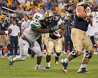 Pitt running back Chawntez Moss. The Pitt Panthers defeated the Marshall Thundering Herd 43-27 on October 1, 2016 at Heinz Field in Pittsburgh, Pennsylvania.