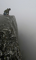 Looking down the 2000 foot face of Stawamish Chief, one of the largest granite monoliths in the world, in Squamish British Columbia.