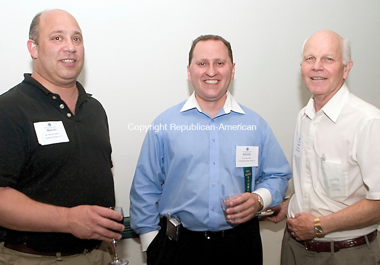 SOUTHBURY, CT -27 JULY 06- 072706JT11-<br /> Of Waterbury, Warren Hudak, Jr. of Hudak &amp; Co. with Antonio Pinto of MyInsuranceAssistant.net and and Peter Hammar of Allegra Print &amp; Imaging at the Waterbury Regional Chamber's &quot;Out for Business&quot; garden party at Dolce Heritage in Heritage Village in Southbury on Thursday, July 27. The Chamber's &quot;Out for Business&quot; events provide an opportunity for members to develop new business relationships in a relaxed, social setting.<br /> Josalee Thrift Republican-American