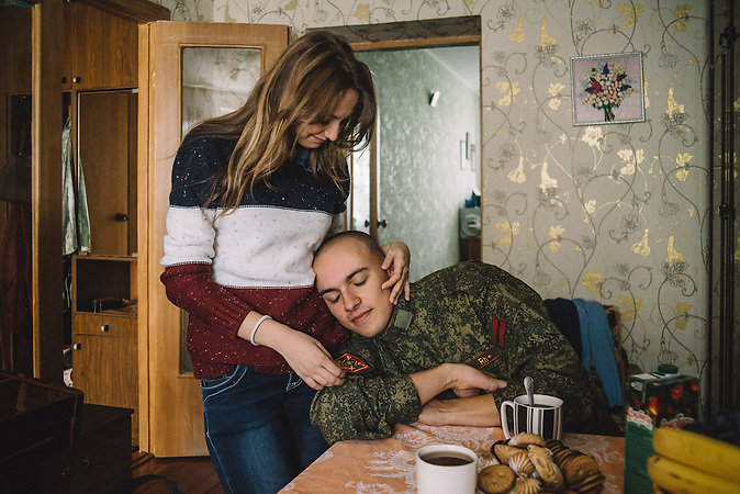Katerine and Alexander during his day of millitary service. Ribnita, Transnistria