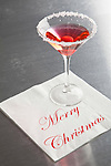 "USA, Illinois, Metamora, Martini glass with ""Merry Christmas"" napkin"