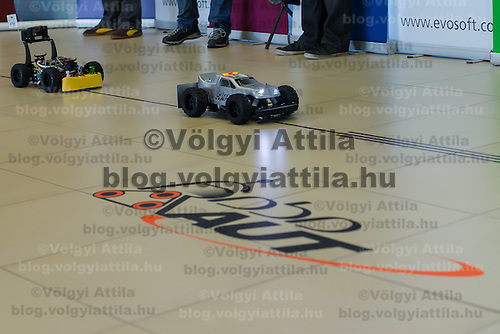 Robotic cars compete in the RobonAut technical university race for self driving autonomous cars in Budapest, Hungary on January 10, 2015. ATTILA VOLGYI