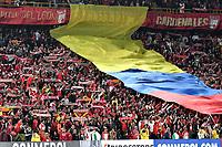 BOGOTA - COLOMBIA – 16 – 03 - 2017: Hinchas de Independiente Santa Fe, animan a su equipo durante partido entre Independiente Santa Fe de Colombia y Sporting Cristal de Peru, de la fase de grupos, grupo 2, fecha 2 por la Copa Conmebol Libertadores Bridgestone 2017, en el estadio Nemesio Camacho El Campin, de la ciudad de Bogota. / Fans of Independiente Santa Fe, cheer for their team during a match between Independiente Santa Fe of Colombia and Sporting Cristal of Peru, of the group stage, group 2 of the date 2, for the Conmebol Copa Libertadores Bridgestone 2017 at the Nemesio Camacho El Campin in Bogota city. VizzorImage / Luis Ramirez / Staff.