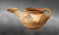 Early Minoan rounded teapot with typical brownish red painted bhatched lines,  Hagios Onouphrios 2900-1900 BC BC, Heraklion Archaeological  Museum, grey background.