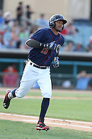 Danry Vasquez #13 of the Lancaster JetHawks runs to first base during a playoff game against the Inland Empire 66ers at The Hanger on September 7, 2014 in Lancaster, California. Lancaster defeated Inland Empire, 5-2. (Larry Goren/Four Seam Images)
