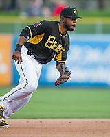 Eric Young Jr. (8) of the Salt Lake Bees on defense against the Sacramento River Cats in Pacific Coast League action at Smith's Ballpark on April 13, 2017 in Salt Lake City, Utah.   Salt Lake defeated Sacramento 4-3. (Stephen Smith/Four Seam Images)