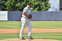 Staten Island Yankees starting pitcher T.J. Sikkema (28) during a NY-Penn League game against the Connecticut Tigers on July 7, 2019 at Richmond County Bank Ballpark in Staten Island, New York.  Connecticut defeated Staten Island 3-2.  (Robert M. Pimpsner/Four Seam Images)