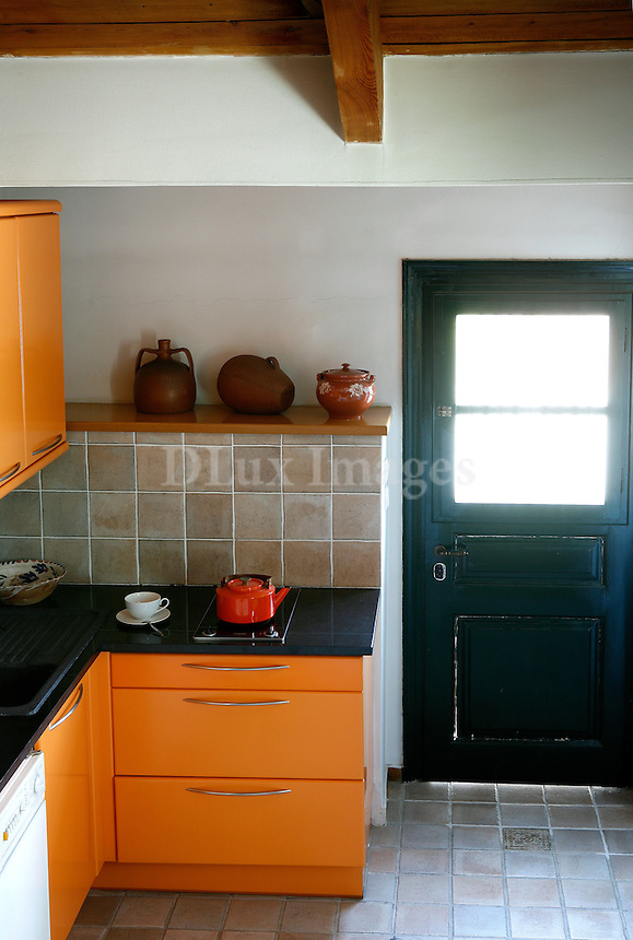 orange kitchen drawers
