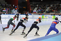SHORT TRACK: TORINO: 14-01-2017, Palavela, ISU European Short Track Speed Skating Championships, Final A 500m Men, Start, Shaolin Sandor Liu (HUN), Dylan Hoogerwerf (NED), Sjinkie Knegt (NED), Victor An (RUS), ©photo Martin de Jong