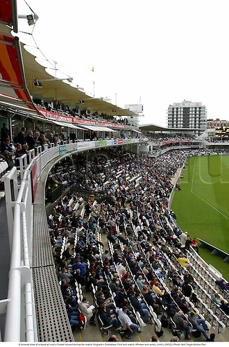 A General view of a stand at Lord's Cricket Ground during the match, England v Zimbabwe, First test match, NPower test series, Lord's, 030523. Photo: Neil Tingle/Action Plus...2003.Cricket .venue venues grounds pitch pitches