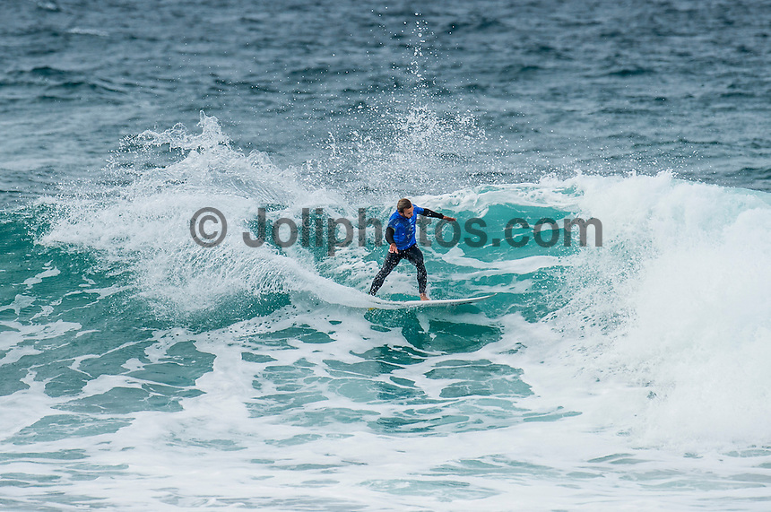 BELLS BEACH, Victoria/AUS (Monday, March 28, 2016) Caio Ibelli (BRA) - Action at the Rip Curl Pro Bells Beach, the second stop on the World Surf League (WSL) Championship Tour (CT), continued today with the remaining six heats of Round Three before the contest was called off for the day.<br /> There were onshore South West winds throughout the day with a dropping swell in the 3'-5' range. <br /> The Heritage Round with Damien Hardman (AUS) and Barton Lynch (AUS) was held today with Lynch coming out victorious. <br /> <br /> Bells Beach has been hosting surfing tournaments for more than 50 years now, making it the most renowned spot on the raw and rugged southern coast of Victoria, Australia. The list of  Rip Curl Pro event champions is a veritable who's who of surfing icons, including many world champions.<br /> <br /> Surfing's greats have a way of dominating Bells. Mark Richards, Kelly Slater, and Mick Fanning all have four Bells trophies; Michael Peterson and Sunny Garcia, three; While Simon Anderson, Tom Curren, Joel Parkinson, Andy Irons, and Damien Hardman each grabbed a pair.<br /> <br /> The story is similar on the women's side. Lisa Andersen and Stephanie Gilmore have four Bells titles; Layne Beachley and Pauline Menczer, three; while Kim Mearig and Sally Fitzgibbons each have two.<br /> <br /> The 2016 event is about to kick off tomorrow and there was a packed warm up session at Bells this morning. <br /> Photo: joliphotos.com