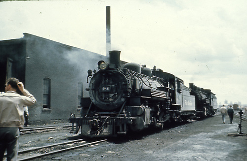 D&amp;RGW #486 and a K-37 beside Chama engine house<br /> D&amp;RGW  Chama, NM