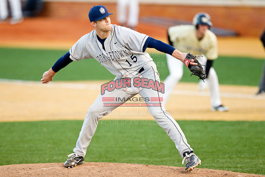 Relief pitcher James Heine #15 of the Georgetown Hoyas in action against the Wake Forest Demon Deacons at Wake Forest Baseball Park on February 26, 2012 in Winston-Salem, North Carolina.  The Demon Deacons defeated the Hoyas 5-2.  (Brian Westerholt / Four Seam Images)