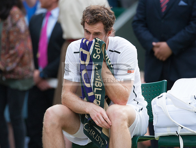 Andy Murrey (GBR) breaks down after winning the mens tinal, Wimbledon Championships 2016, Day Fourteen, All England Lawn Tennis & Croquet Club, Church Rd, London, United Kingdom - 10th July 2016