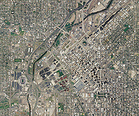 aerial map of Denver, Colorado