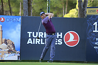 Padraig Harrington (IRL) tees off the 17th tee during Friday's Round 2 of the 2018 Turkish Airlines Open hosted by Regnum Carya Golf &amp; Spa Resort, Antalya, Turkey. 2nd November 2018.<br /> Picture: Eoin Clarke | Golffile<br /> <br /> <br /> All photos usage must carry mandatory copyright credit (&copy; Golffile | Eoin Clarke)