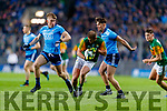 Stephen O'Brien, Kerry in action against Sean Bugler, Dublin and Eric Lowndes, Dublin during the Allianz Football League Division 1 Round 1 match between Dublin and Kerry at Croke Park on Saturday.