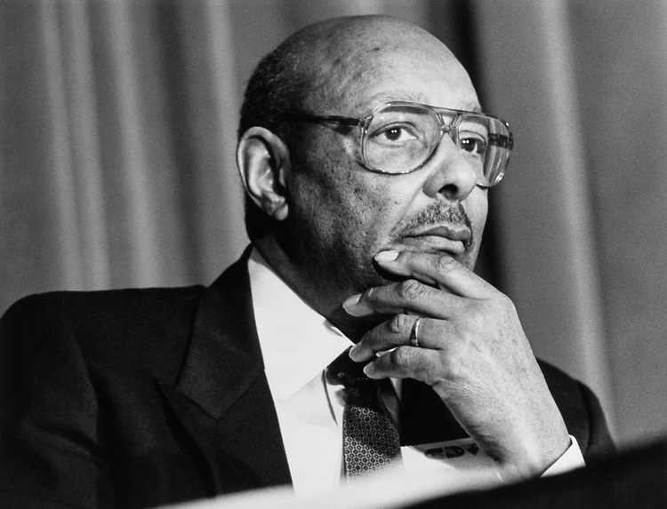 Rep. Louis Stokes, D-Ohio, the New Ethics Chairman on Feb. 7, 1991. (Photo by Maureen Keating/CQ Roll Call)