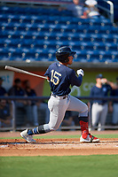 Mobile BayBears Jahmai Jones (15) at bat during a Southern League game against the Mobile BayBears on July 25, 2019 at Blue Wahoos Stadium in Pensacola, Florida.  Pensacola defeated Mobile 2-1 in the first game of a doubleheader.  (Mike Janes/Four Seam Images)
