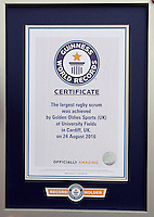 Pictured: The record certificate in Cardiff, Wales, UK. Wednesday 24 August 2016<br />