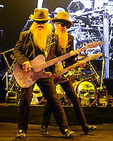 HOLLYWOOD FL - JUNE 12: (L-R) Dusty Hill and Billy Gibbons of ZZ Top perform at  Hard Rock Live held at the Seminole Hard Rock Hotel & Casino on June 12, 2012 in Hollywood, Florida. © mpi04/MediaPunch Inc NORTEPHOTO.COM<br />