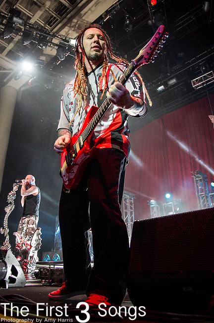 Zoltan Bathory of Five Finger Death Punch performs during the 2013 Mayhem Festival at Klipsch Music Center in Indianapolis, Indiana.