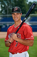 Batavia Muckdogs Michael Donadio (7) poses for a photo on July 2, 2018 at Dwyer Stadium in Batavia, New York.  (Mike Janes/Four Seam Images)