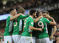 06/10/2016; 2018 FIFA World Cup Qualifier Republic of Ireland vs Georgia; Aviva Stadium, Dublin<br /> Ireland&rsquo;s Seamus Coleman (right) celebrates with his team mates after scoring a goal.<br /> Photo Credit: actionshots.ie/Tommy Grealy