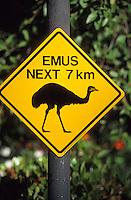 Océanie/Australie/South Australia/Australie Méridionale: Panneau signalant la présence d'émeu