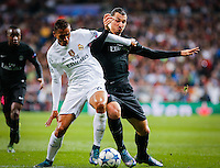 Paris Saint Germain´s forward Zlatan Ibrahimovic and Real Madrid´s Danilo