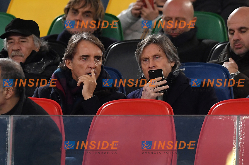 Italian national team coach Roberto Mancini and his assistant Gabriele Oriali on the stands ahead the Serie A 2018/2019 football match between Lazio and Empoli at stadio Olimpico, Roma, February 7, 2019 <br />  Foto Andrea Staccioli / Insidefoto