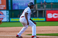 Wisconsin Timber Rattlers outfielder Demi Orimoloye (6) during game one of a Midwest League doubleheader against the Kane County Cougars on June 23, 2017 at Fox Cities Stadium in Appleton, Wisconsin.  Kane County defeated Wisconsin 4-3. (Brad Krause/Krause Sports Photography)