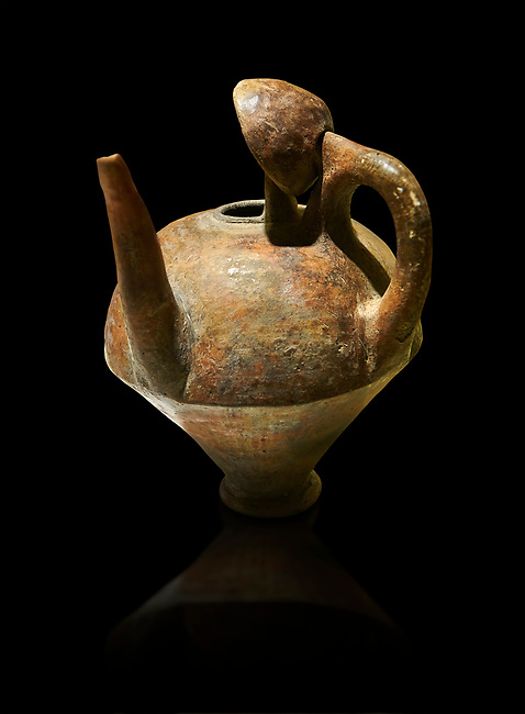 Terra cotta side spouted pitcher with lid - 1700 BC to 1500 BC - Kültepe Kanesh - Museum of Anatolian Civilisations, Ankara, Turkey. Against a black background