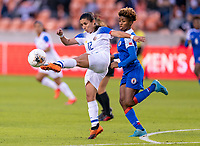 HOUSTON, TX - JANUARY 31: Lixy Rodriguez #12 of Costa Rica clears the ball during a game between Haiti and Costa Rica at BBVA Stadium on January 31, 2020 in Houston, Texas.