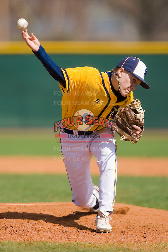 Relief pitcher Nick Musgrave #6 of the North Carolina A&T Aggies in action against the Charlotte 49ers at War Memorial Stadium March 23, 2010, in Greensboro, North Carolina.  Photo by Brian Westerholt / Four Seam Images
