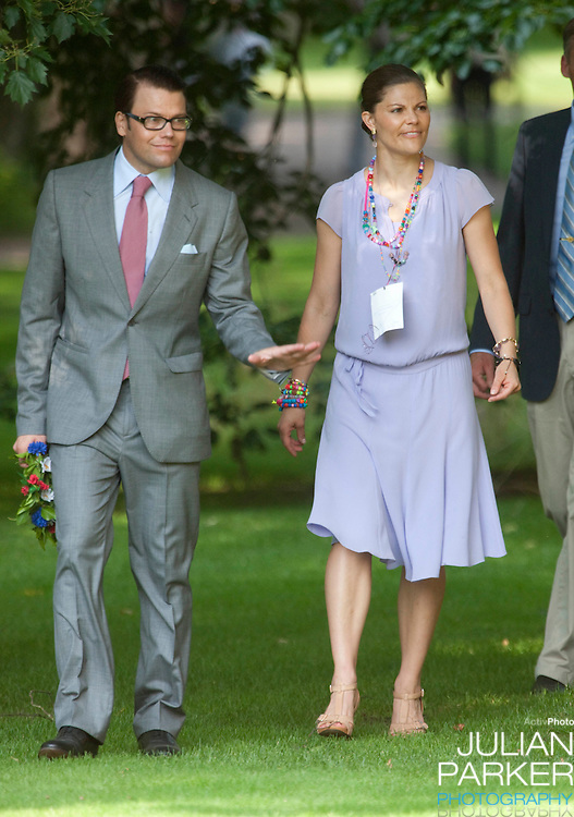 Crown Princess Victoria of Sweden celebrates her 32nd Birthday at Solliden, on the Island of Oland in Sweden..Accompanied by her fiance Daniel Westling, and King Carl Gustaf, and Queen Silvia of Sweden