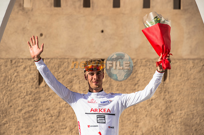 Elie Gesbert (FRA) Team Arkea Samsic takes over the White Jersey at the end of Stage 5 of the 10th Tour of Oman 2019, running 152km from Samayil to Jabal Al Akhdhar (Green Mountain), Oman. 20th February 2019.<br /> Picture: ASO/Kåre Dehlie Thorstad | Cyclefile<br /> All photos usage must carry mandatory copyright credit (© Cyclefile | ASO/Kåre Dehlie Thorstad)