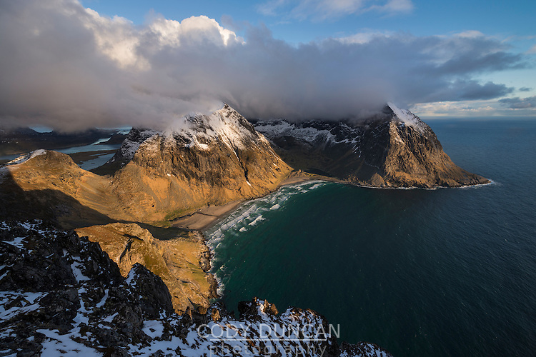 View from Ryten over Kvalvika beach, Moskenesøy, Lofoten Islands, Norway