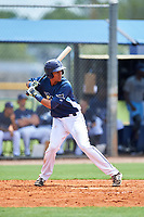 GCL Rays designated hitter Carlos Vargas (25) at bat during the first game of a doubleheader against the GCL Twins on July 18, 2017 at Charlotte Sports Park in Port Charlotte, Florida.  GCL Twins defeated the GCL Rays 11-5 in a continuation of a game that was suspended on July 17th at CenturyLink Sports Complex in Fort Myers, Florida due to inclement weather.  (Mike Janes/Four Seam Images)