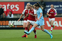 Jordan Nobbs of Arsenal Women and Abbie McManus of Manchester City Women during Arsenal Women vs Manchester City Women, FA Women's Super League FA WSL1 Football at Meadow Park on 12th May 2018