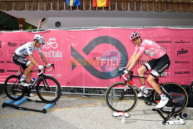 Race leader Maglia Rosa Tom Dumoulin (NED) Team Sunweb and Maglia Bianca Bob Jungels (LUX) Quick-Step Floors warm down after Stage 17 of the 100th edition of the Giro d'Italia 2017, running 219km from Tirano to Canazei, Italy. 24th May 2017.<br /> Picture: LaPresse/Massimo Paolone   Cyclefile<br /> <br /> <br /> All photos usage must carry mandatory copyright credit (&copy; Cyclefile   LaPresse/Massimo Paolone)