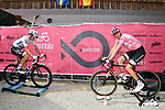 Race leader Maglia Rosa Tom Dumoulin (NED) Team Sunweb and Maglia Bianca Bob Jungels (LUX) Quick-Step Floors warm down after Stage 17 of the 100th edition of the Giro d'Italia 2017, running 219km from Tirano to Canazei, Italy. 24th May 2017.<br /> Picture: LaPresse/Massimo Paolone | Cyclefile<br /> <br /> <br /> All photos usage must carry mandatory copyright credit (&copy; Cyclefile | LaPresse/Massimo Paolone)